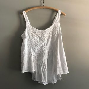 Anthropologie Lilka White Patchwork Tank Top Shirt